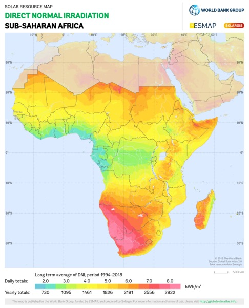 Direct Normal Irradiation, Sub-Saharan Africa
