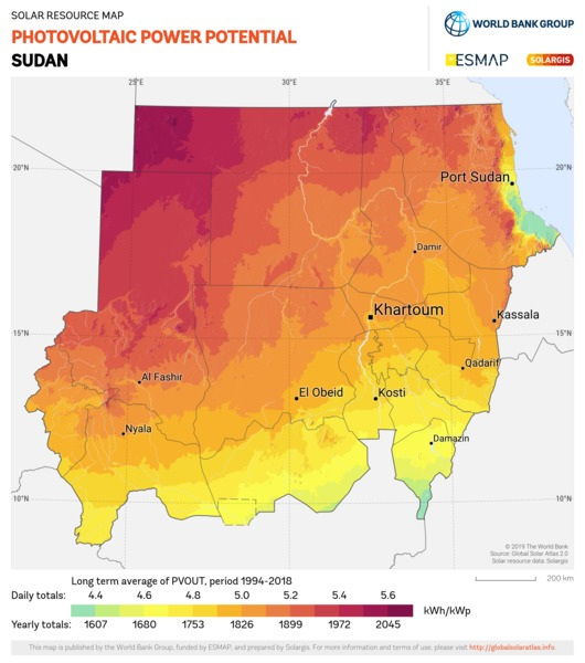 Photovoltaic Electricity Potential, Sudan