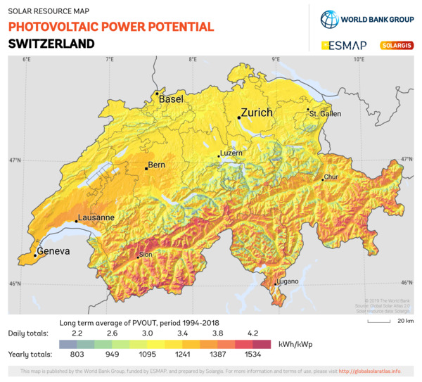 Photovoltaic Electricity Potential, Switzerland