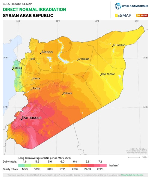 Direct Normal Irradiation, Syrian Arab Republic