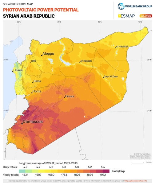Photovoltaic Electricity Potential, Syrian Arab Republic