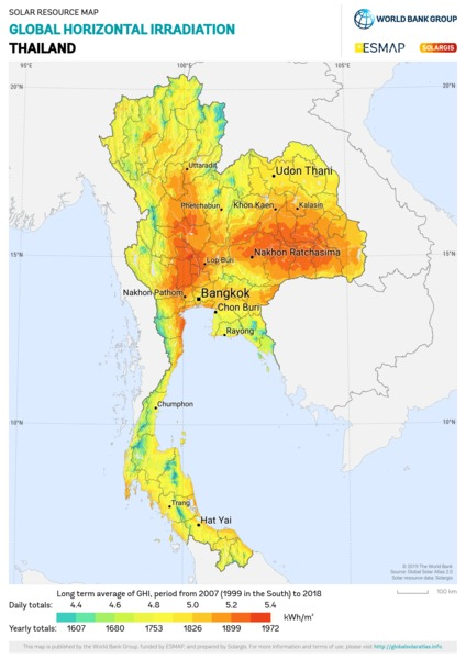 Global Horizontal Irradiation, Thailand