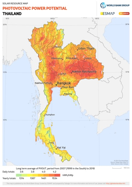 Photovoltaic Electricity Potential, Thailand