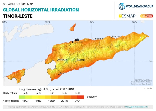 Global Horizontal Irradiation, Timor Leste