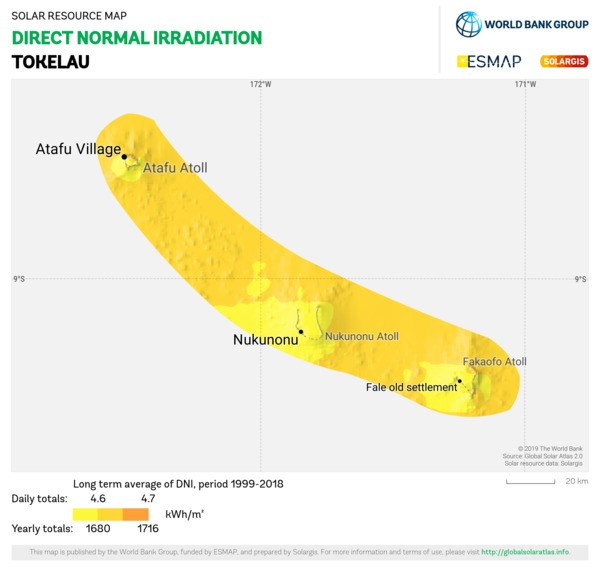 Direct Normal Irradiation, Tokelau