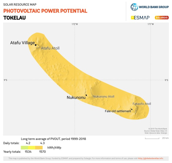 Photovoltaic Electricity Potential, Tokelau