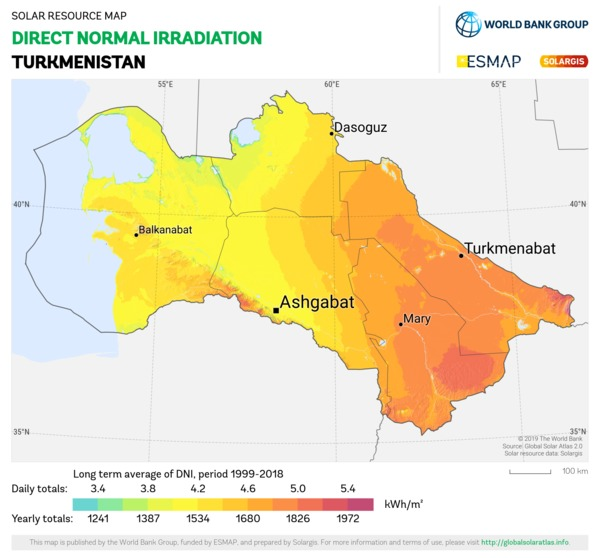 Direct Normal Irradiation, Turkmenistan