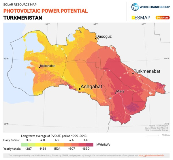 Photovoltaic Electricity Potential, Turkmenistan