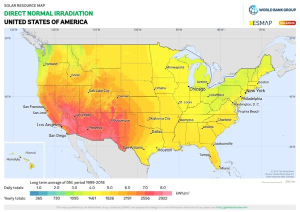 Direct Normal Irradiation, USA