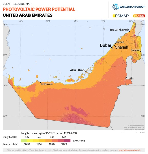 Photovoltaic Electricity Potential, United Arab Emirates