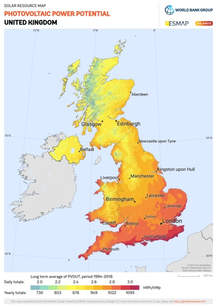 Photovoltaic Electricity Potential, United Kingdom