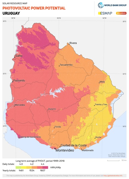 Photovoltaic Electricity Potential, Uruguay