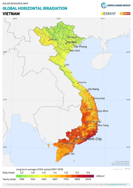 Global Horizontal Irradiation, Vietnam