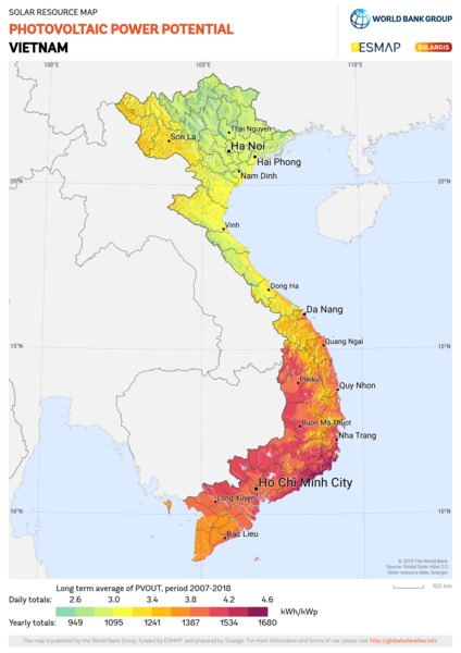 Photovoltaic Electricity Potential, Vietnam