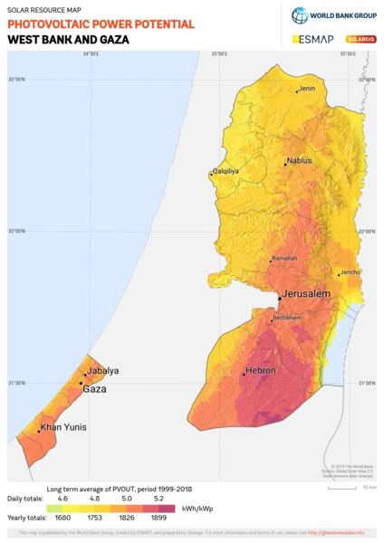 Photovoltaic Electricity Potential, West Bank And Gaza