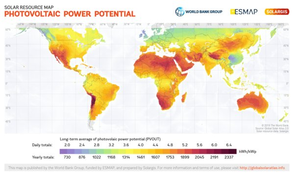 Photovoltaic Electricity Potential, World
