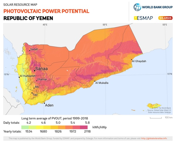 Photovoltaic Electricity Potential, Yemen