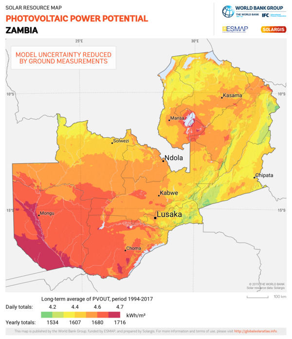 Photovoltaic Electricity Potential, Zambia