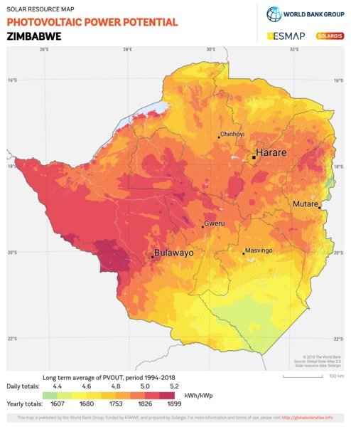 Photovoltaic Electricity Potential, Zimbabwe